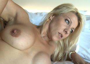 Pale skin blonde milf babe feeling amazing during anal sex