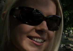 Blonde Brandy Smile is curious about stripping on camera