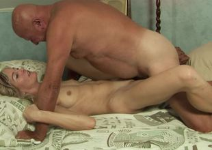 Adorable blonde floozy wants to receive fucked by a really horny grandpa
