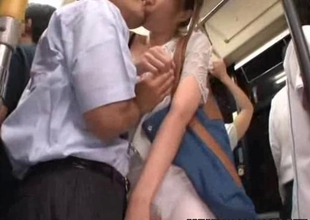 Youthful Gal groped & used in a local shuttle bus