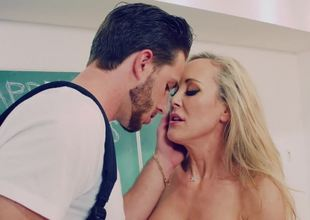 Brandi Love plays the role of nasty teacher that copulates student