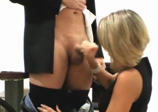 Golden-haired secretary drives her excited boss wild.