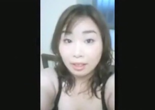 Busty asian gal with hairy pussy makes a masturbation sextape for her bf