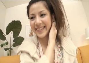 Sexy Asian Rina Koizumi exposes hairy twat for a vibrat