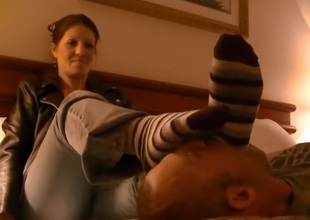 Foot domination in the comfort of the bedroom