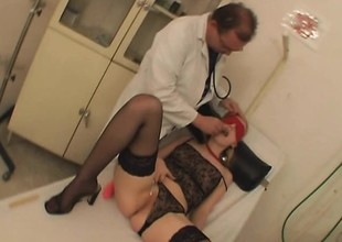 Kinky doctor enjoys teasing and fucking a hot blonde nympho