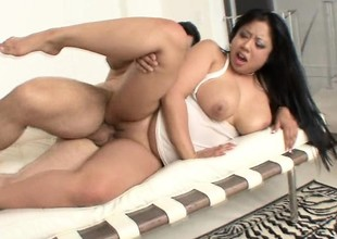 Plump as fuck Asian slut with great tits gets roughed up on camera