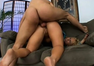 Kinky blonde in black stockings takes a hard dick in her ass and moans with delight