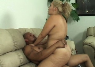 Breasty babe Vanessa Lee moves on top of her darksome paramour and rides his huge dick