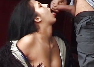 Dilettante brunette sucking cock in public