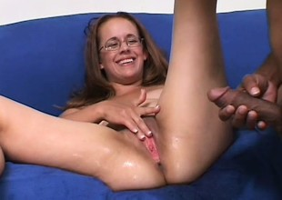 Chunky amateur mommy in glasses gets the big cock from her dreams