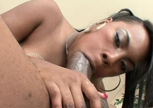 Red bone hussy gets down to play with her man's chocolate rod