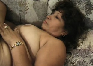 Fat Latina granny Estella gets a pair of horny dudes banging her holes