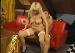 Hear this mature whore groan as a big dick tears into her old bawdy cleft