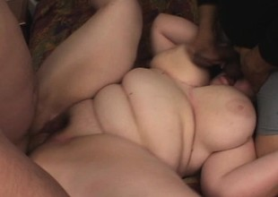 Fat bitch jiggles as two big cocks slam into her pale curves
