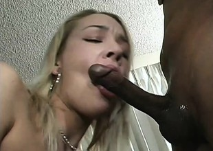 Glamorous blonde with perky boobs has a black shaft exploring her holes
