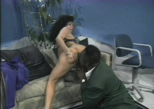 Latina with a mind blowing ass gets herself a big piece of hard darksome meat