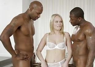 BLACKED Pretty Blonde Dakota James Screams With 2 Big Black Cocks