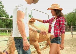 Freaky cowgirl engulfing big cock