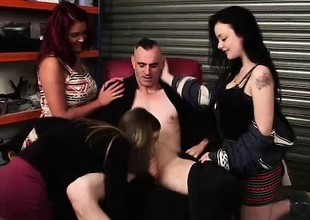 Naughty CFNM British girls give blowjob to naked guy