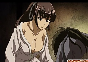 Japanese anime hard soaked pussy fucked in the dark night