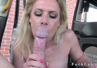 Cheating blonde acquires anal in a cab in public