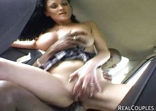 Interracial pair anal sex in car