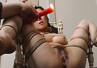 Toy screwed bound up and pussy waxed