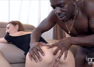Cuffed girl fucked unfathomable by a big black cock