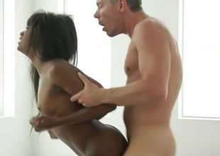 Black hottie on her hands and knees for white dick