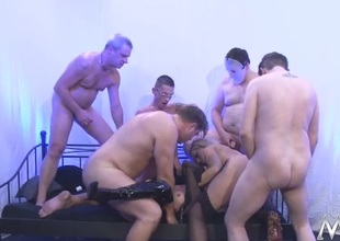 Blondes gangbanged by a group of horny gentlemen