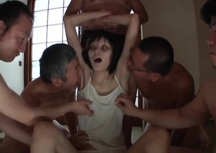 Skinny Japanese zombie licked and caressed by guys