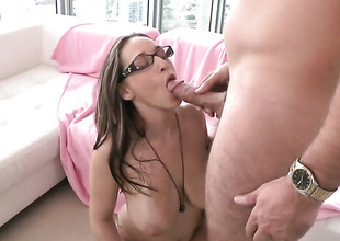 Brunette Jasmin with giant breasts receives her cunt trained