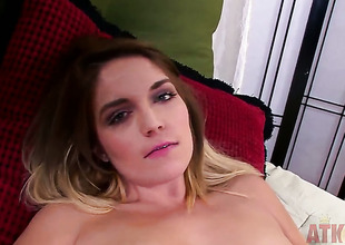 Blonde asian Casey Stone with tiny tities and clean cunt cant stop playing with her snatch