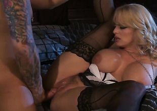 Stormy Daniels has fire in her eyes as that babe gets her throat fucked by her bang buddy