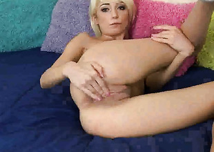 Moretta Cox with small tities and clean cunt does her best to make your pecker harder in solo abal action