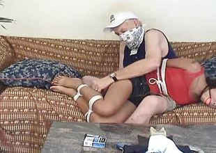 Dominated Oriental gets her pussy fingered