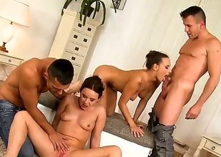 Renato, Choky Ice, Mea Melone and Wendy Moon are filmed doing an orgy. Watch them as they are having group sex. The skinny bitches truly know how to make guys cum.