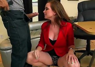 Jessica Rayne is a mature milf redhead that is giving a blow job and we also see her having straight sex on the table. She sure likes to take on a cock.