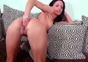 Solo girl Aliz inserts darksome hose in her pink pussy and then in her flexy asshole. That babe fucks herself with her toy and then gives anal fisting a try. Watch naughty brunette have fun.