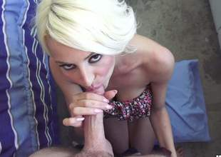 Horny blonde doxy is going to give a deep throat that will make his nuts swollen and his rod rock solid. The pressure is taken care of when she sits on his dick