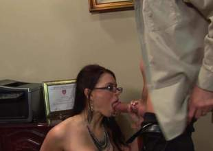 Bossy lady Eva Angelina is about to have sex in office. That babe couldnt wait to get home so she jumped on this young assistant and sucked him dry before riding him
