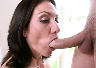 Brunette Karrlie Dawn with bubbly butt has fire in her eyes as she takes cum shot on her desirous face