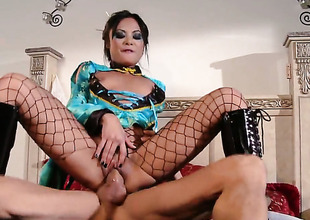 Kaylani Lei gets her nice face covered in sticky nectar after sex with lewd dude