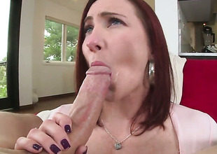 Redhead whore Sophia Locke with large melons and trimmed beaver shows her love for love torpedo sucking in blowjob action with hot bang buddy