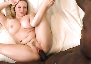 Blonde Aiden Starr with phat bottom polishes fortunate dudes erect love wand with her lips
