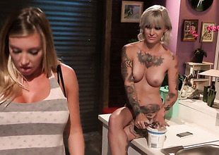 Kleio Valentien with big wobblers is ready to play with her muff all day long
