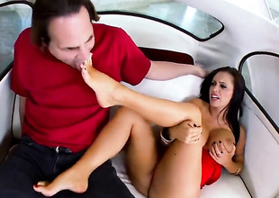 Brunette Jenna Presley with gigantic hooters acquires cum drenched after sex with hot guy