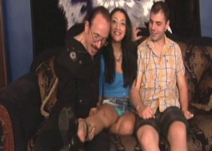 Smutty honey in a miniskirt filmed while she weathers hardcore throbbing in a 3some