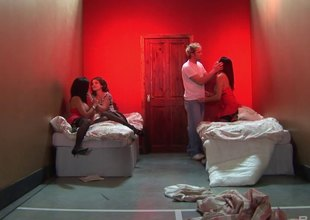 Hot orgy in a red room with a trio of gorgeous sluts